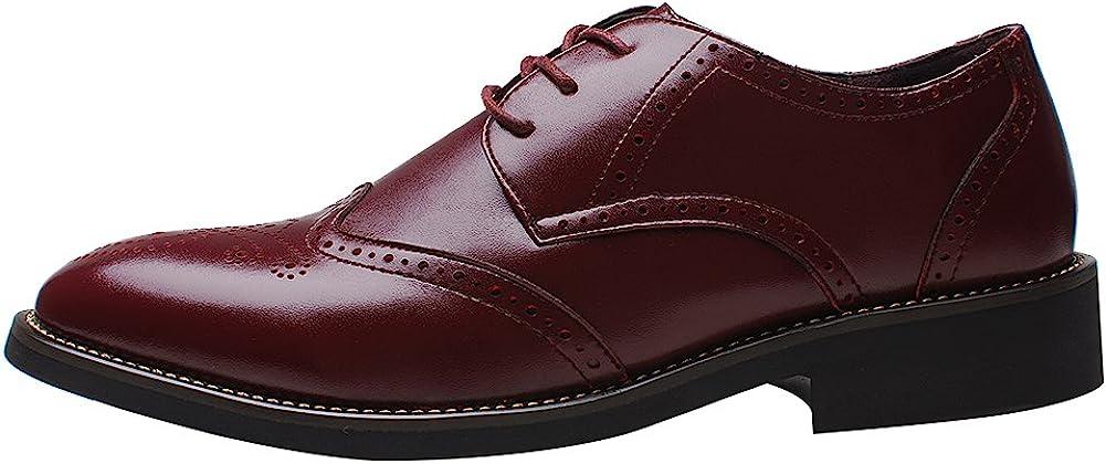 rismart Mens Office Dress Brogue Leather Oxfords Shoes