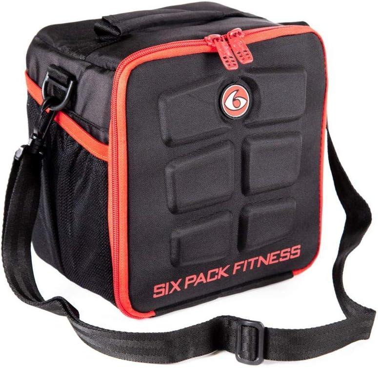6 Pack Fitness Cube comida gestión bolsa de deporte bolsa de fitness incluye latas y bolsas de refrigeración Meal Management All Black, rojo: Amazon.es: Deportes y aire libre