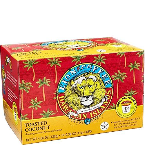 Hawaiian Islands Lion Coffee Toasted Coconut Single-Serve Coffee Pods (12 Pod Box)