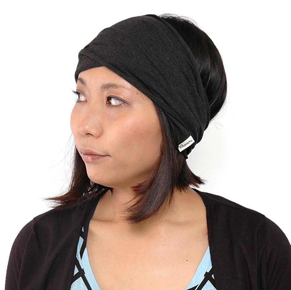 CHARM mens Elastic Bandana Headband Japanese Long Hair Dreads Head wrap Mix Black