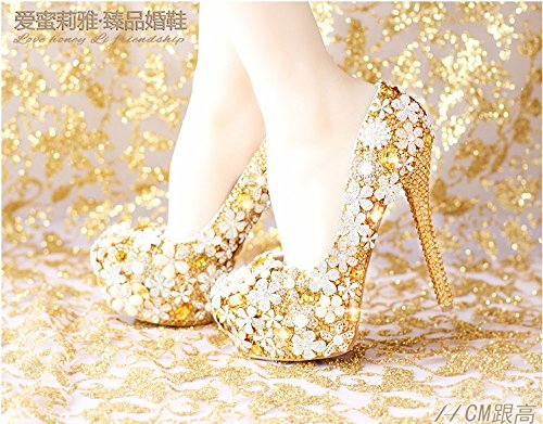 Flower Women'S Wedding 6 Heel Dress Shoes Super VIVIOO Shoes Prom Waterproof Bride Heel Sandals Shoes Golden Crystal gwApX4T