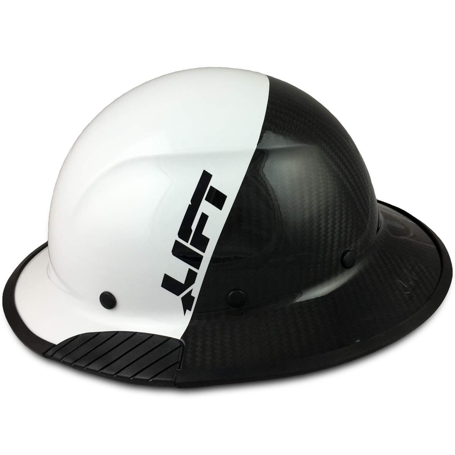 Texas America Safety Company Actual Carbon Fiber Material Hard Hat with Hard Hat Tote- Full Brim, White and Black and Protective Edging