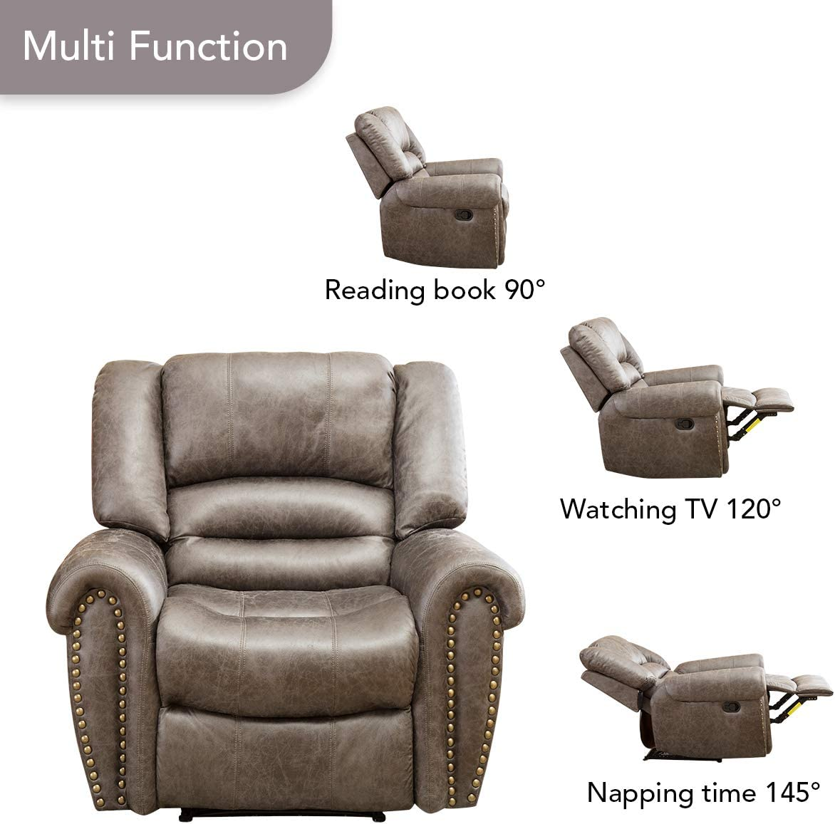 BONZY Oversized Recliner Leather Lounge Chair reclining angles
