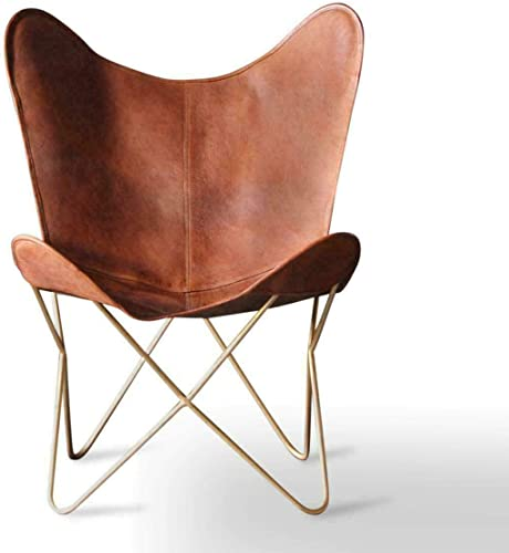 Leather Living Room Chairs-Butterfly Chair Brown Leather Butterfly Chair-Handmade