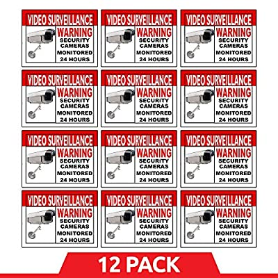 "Best Home and Business Security Camera & Video Surveillance Sticker for Indoor/Outdoor Use Long Lasting Weather Proof Window & Door Security 4 x 3"" 12-Pack Stickers with FREE 1yr Warranty Made in USA"