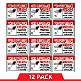 Best Home and Business Security Camera & Video Surveillance Sticker for Indoor/Outdoor Use Long Lasting Weather Proof Window & Door Security 4 x 3'' 12-Pack Stickers with FREE 1yr Warranty Made in USA