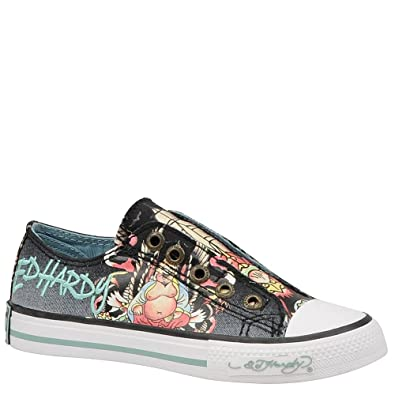 2bfe9dd33 Amazon.com | Ed Hardy Lowrise Kids Canvas Top Sneaker Shoes | Flats