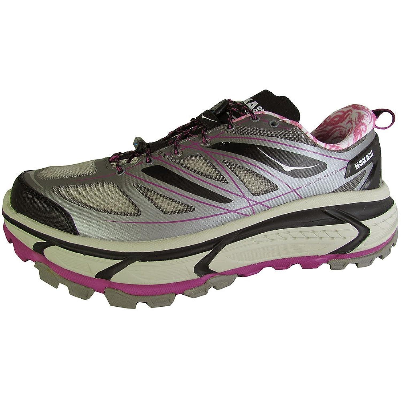 Hoka One One Women Mafate Speed Running Sneaker Shoe, Grey/Black/Fushia, US 8
