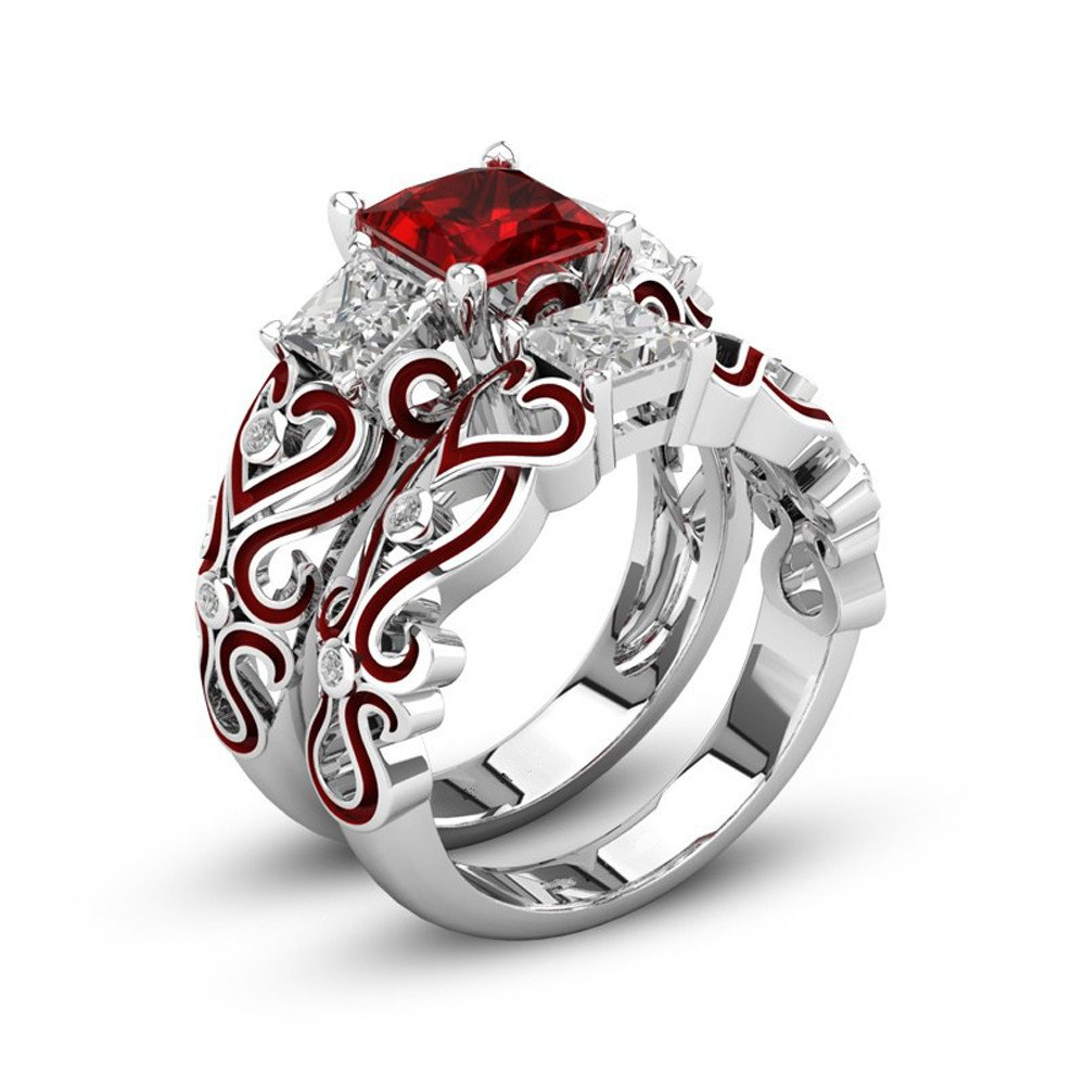 CieKen Women Wedding Ring Diamond Silver Heart Band Engagement Bride Gift 2-in-1