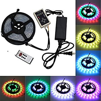 6803 IC RGB Magic Dream Color Multicolors LED Strip Lights Full Set ( Strip Lights + Remote Controller + Power Adapter ) Waterproof IP67 Tube Covered (5m/16ft)