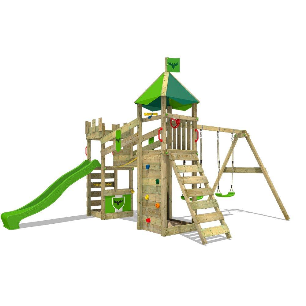 FATMOOSE Parque infantil de madera RiverRun Royal XXL Juego de madera para exterior Estructura de escalada con tobogán, columpio y puente colgante