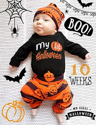 3Pcs My First Halloween Stripe Outfit Set Baby Boys Girls Cute Romper Clothing Set(0-3 M/70) by Oklan (Image #1)