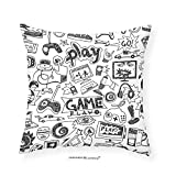 VROSELV Custom Cotton Linen Pillowcase Video Games Black and White Sketch Style Gaming Design Racing Monitor Device Gadget Teen 90s Bedroom Living Room Dorm Decor Blak White 12''x12''
