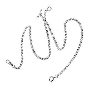 Amazon Com Pocket Watch Chain Double Albert T Bar Silver Plated