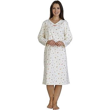 Slenderella Ladies Luxury Brushed Cotton Floral Long Sleeved Nightdress UK  12 14 (Cream) 6e3e1707f
