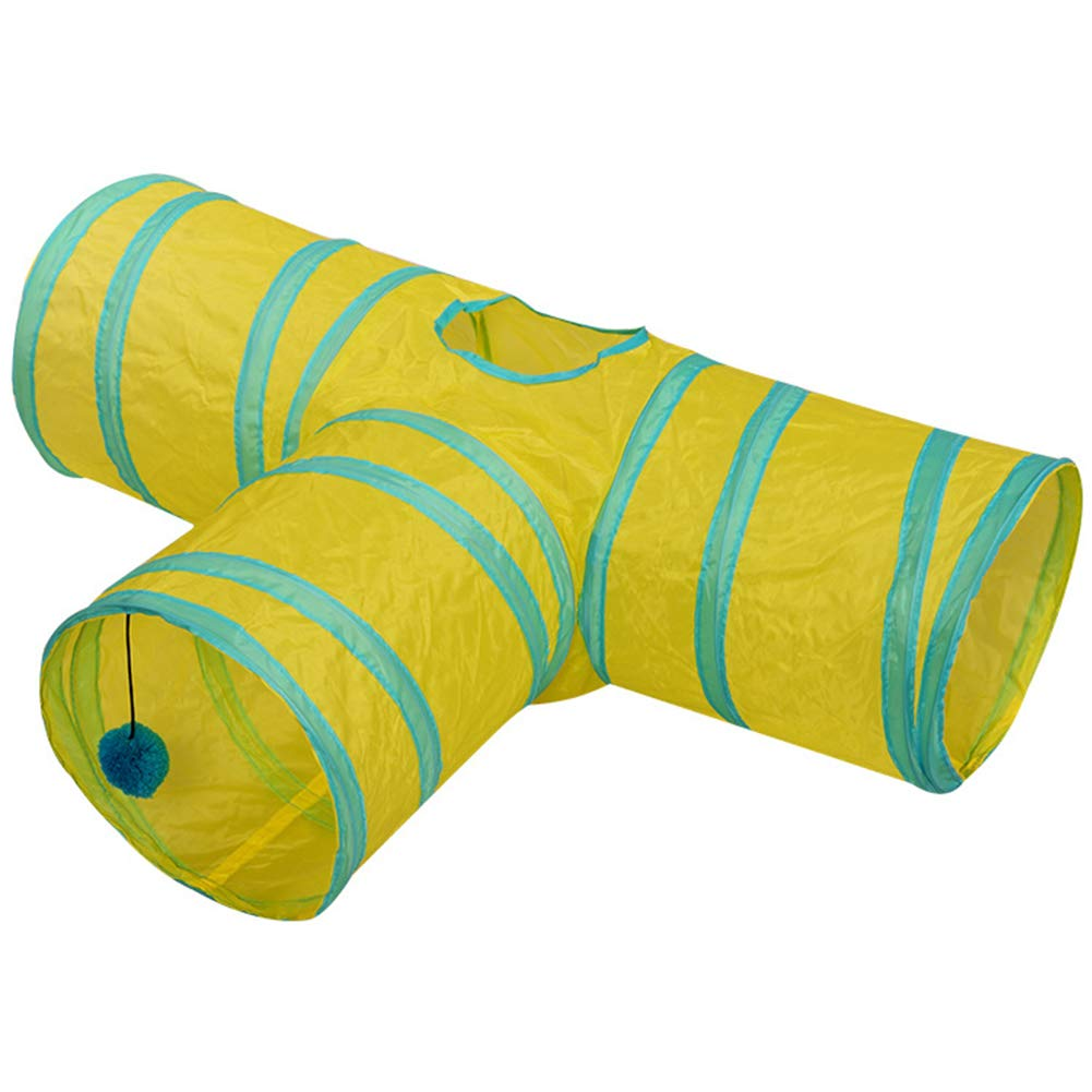 ETbotu 3/4 Holes Foldabe Pet Cat Tunnel Indoor Outdoor Pet Cats Training Toys Play Tunnel Tubes Blue and Yellow Stripes T-Shaped by ETbotu