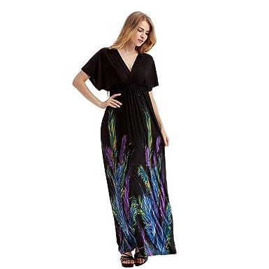 Womens Deep V Neck Feather Print Long Maxi Bohemian Plus Size Dress