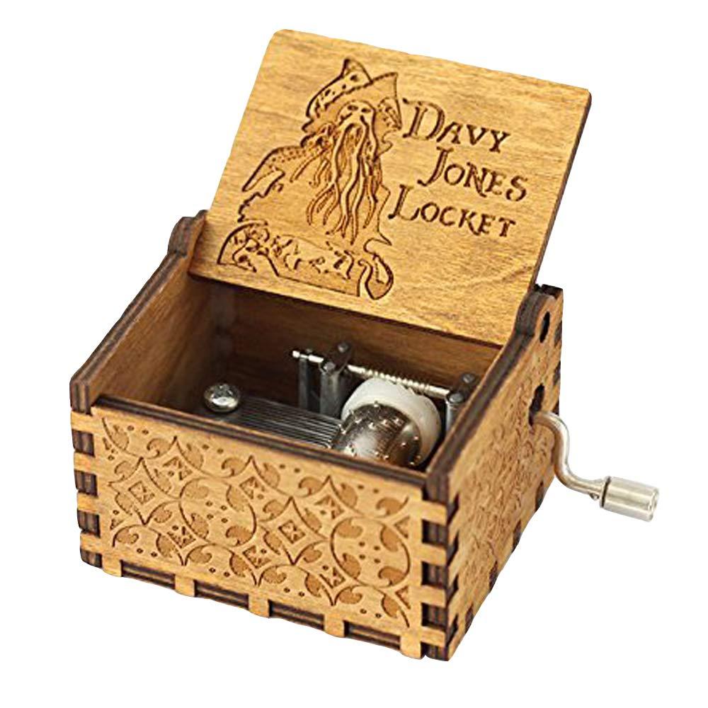 FnLy 18note Thame da Davy Jone Music Box, in legno antico intagliato a mano manovella carillon Gift Brown