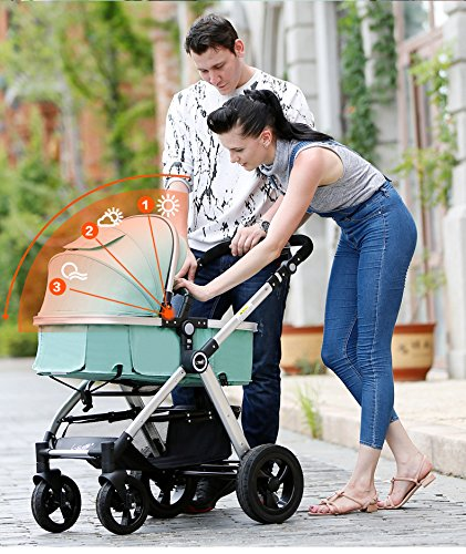 Hanmate Two-way Baby Foldable Anti-shock High landscape Carriage Infant Stroller Pushchair Pram Without Brim (Purple, Size3) by Hanmate (Image #5)