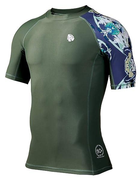 2613e1834 HUGE SPORTS Men's Splice UV Sun Protection UPF 50+ Skins Rash Guard Short  Sleeves(