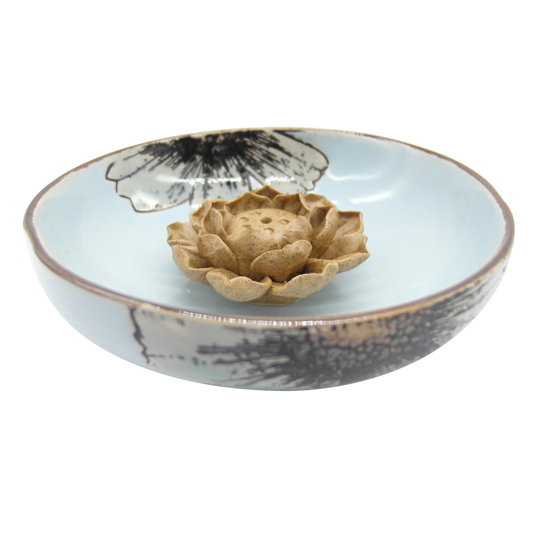 TrendBox Ceramic Handmade Artistic Incense Holder Burner Stick Coil Lotus Ash Catcher Buddhist Water Lily Plate - One Hole Blue