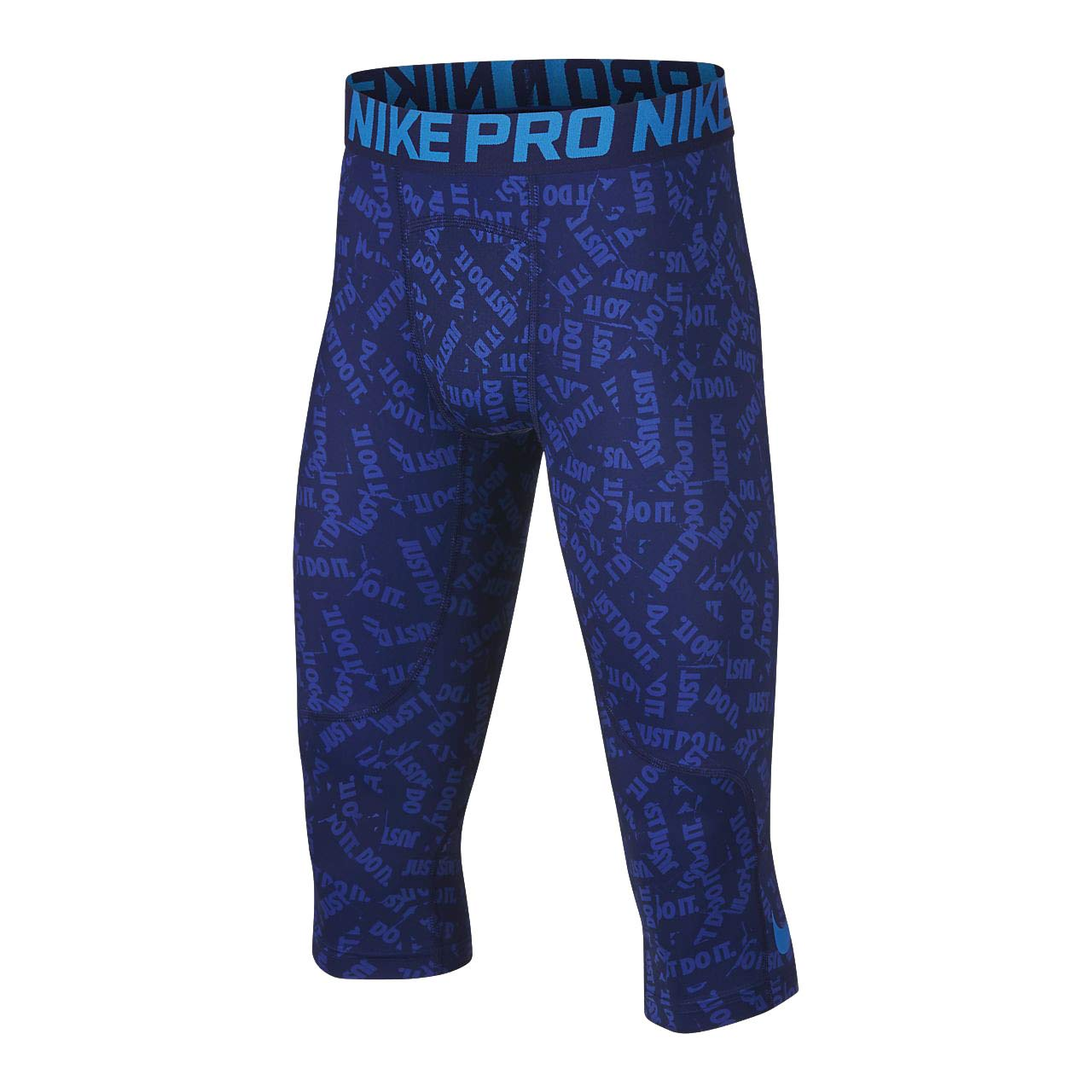 Nike Pro Boy`s 3/4 Printed Training Leggings (Blue Void(939574-478)/Blue Hero, X-Large) by Nike