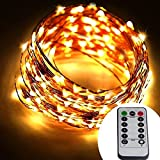 [Remote & Timer] Battery Operated 20 Meter 200 LED Copper Wire String Lights 8 Modes Dimmable Micro LED Starry String Light (Warm White)