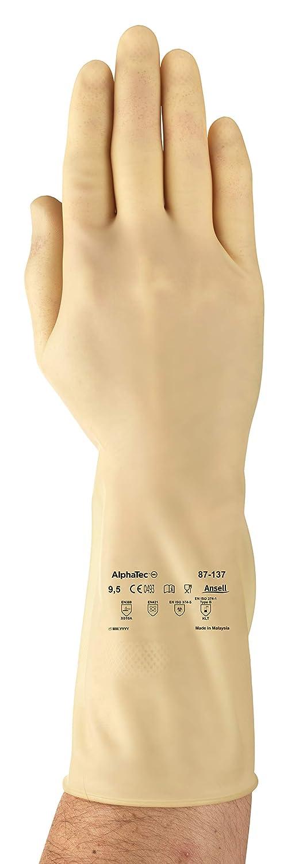 Negro 1 Par Ansell AlphaTec 87-105 Latex Guante contra productos qu/ímicos Tama/ño 9.5