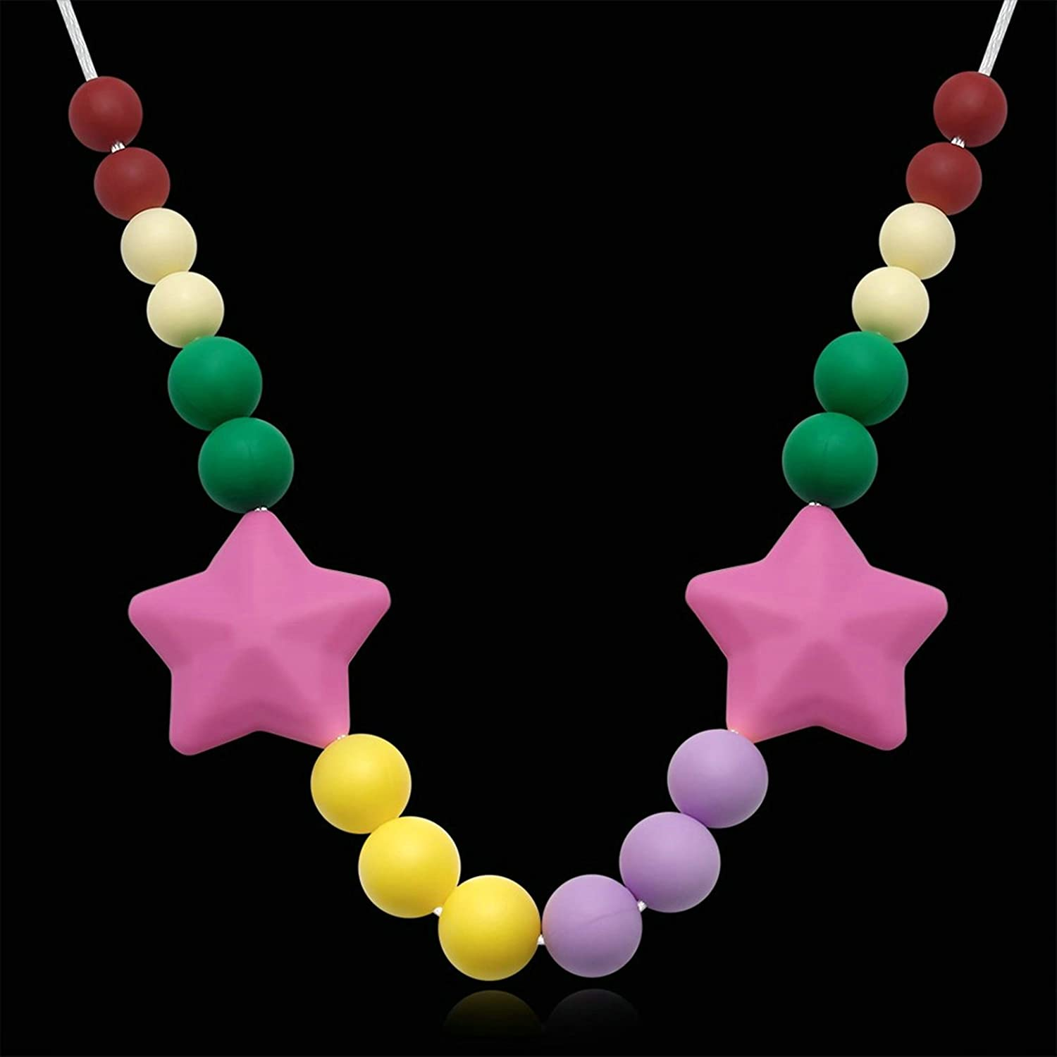 ANAZOZ Silicone Teething Necklace for Mom Colorful Beads and Stars Teething Pain Reduce Necklace for Baby