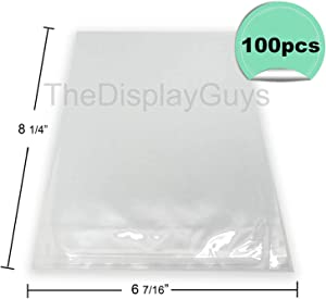"The Display Guys, 100 Pcs 6 7/16"" x 8 1/4"" Clear Self Adhesive Plastic Bags for 6x8 inches Picture Photo Framing Mats"