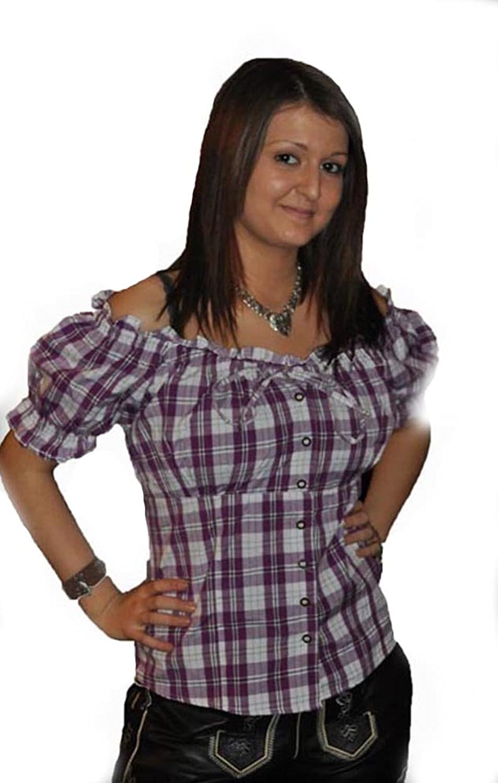 Trachten Bluse LILA für Trachten Lederhose Damen Bluse AT-531L