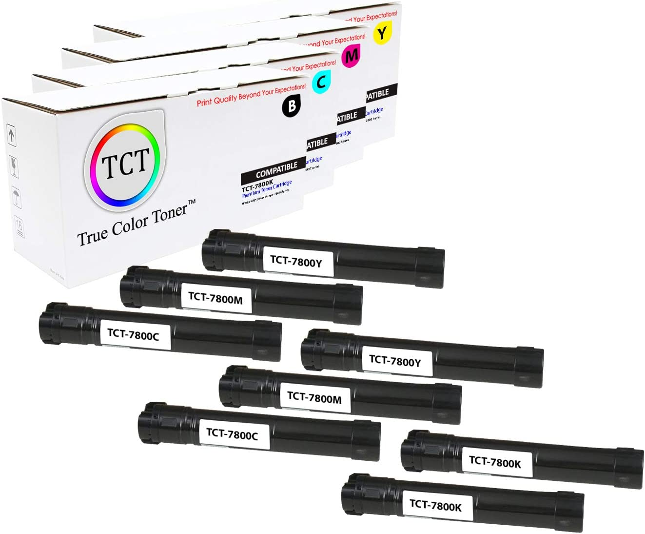 TCT Premium Compatible High Yield Toner Cartridge Replacement for Xerox Phaser 7800 Printers 8 Pack Black 106R01569, Cyan 106R01566, Magenta 106R01567, Yellow 106R01568