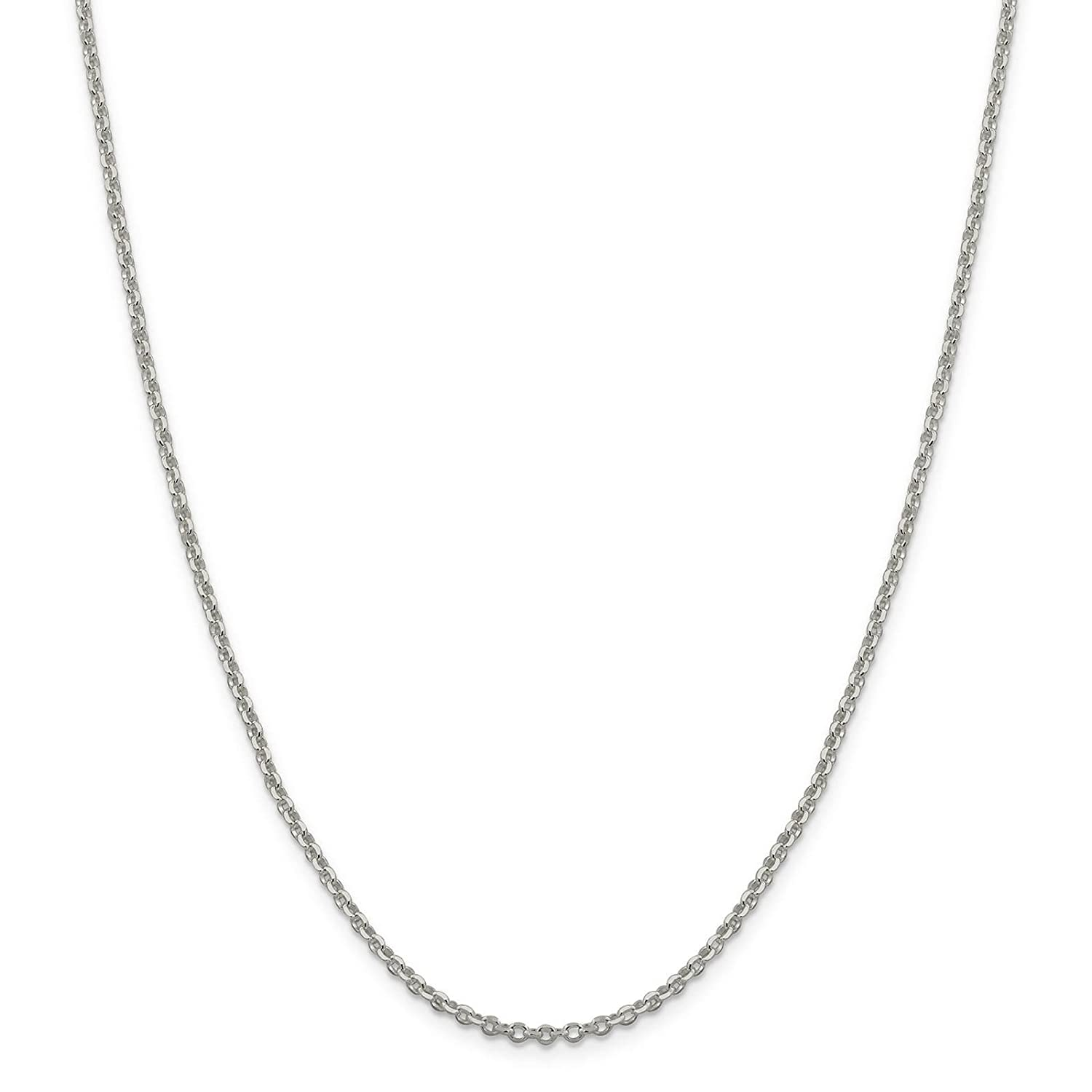925 Sterling Silver 2.5mm 8 Side Diamond-Cut Cable Link Chain Necklace 16-30