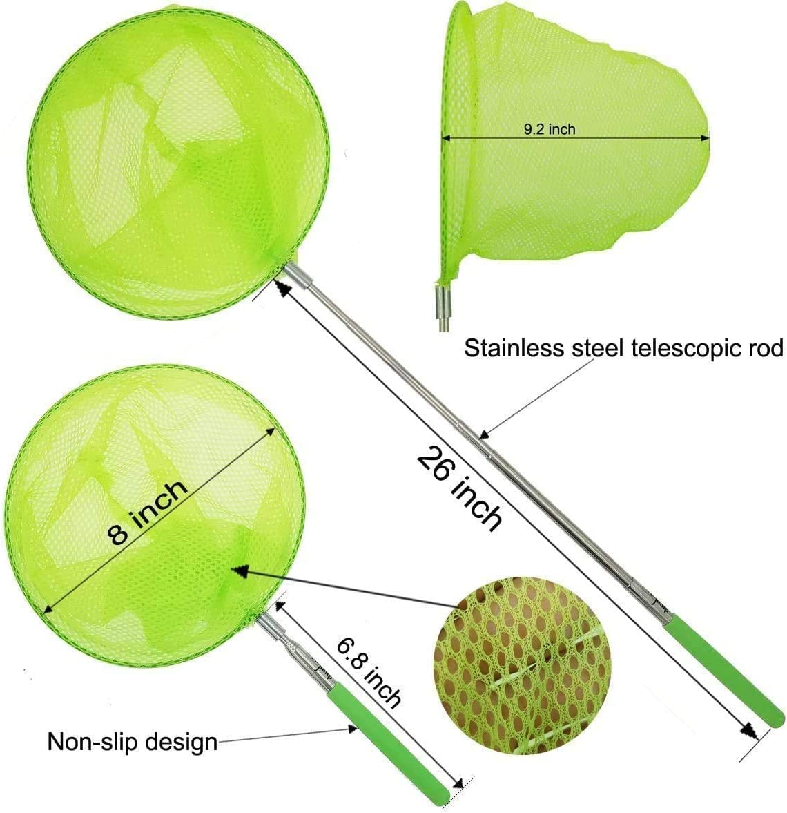 5 Pcs Childrens Insect Catch Mesh Fish Extendable Pole Sungkeen Butterfly Nets Fishing Nets for Kids Catching Insects Bugs Playing Outdoor