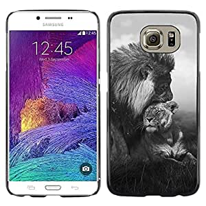 Design for Girls Plastic Cover Case FOR Samsung Galaxy S6 Lion Love Couple Black White Africa Animal OBBA