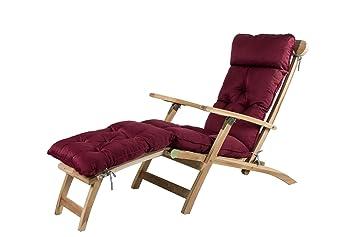 Meerweh Mar WEH Deck Chair – Fregadero para Tumbona, Aprox. 195 x 49 x 10 cm, Cojines Acolchados, Almohada, Rojo, 20071