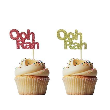 Brilliant Morndew 24 Pcs Glitter Ooh Rah Cupcake Toppers For Usmc Marine Personalised Birthday Cards Akebfashionlily Jamesorg