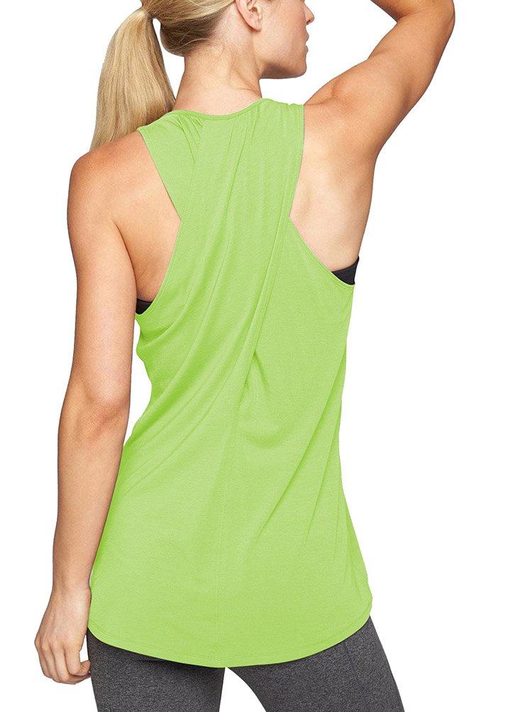 Mippo Women's Loose Fit Yoga Shirts Tunic Racerback Tank Top Sleeveless Criss Cross Stretchy Loose Junior Workout Tops Green S