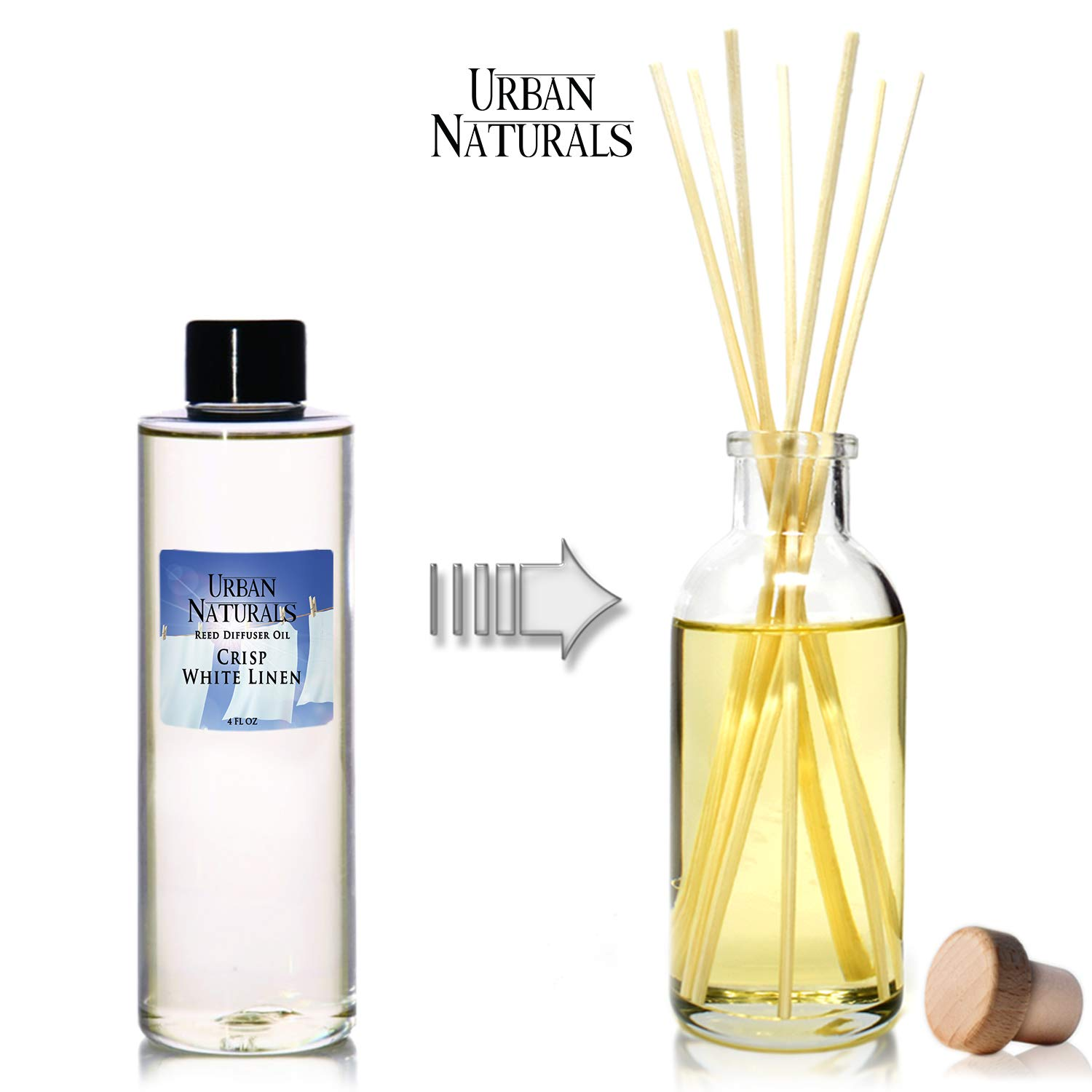 Urban Naturals Crisp White Linen Scented Oil Reed Diffuser Refill | Free Set of Reed Sticks! A Fresh, Clean Cotton Scent, 4 oz by Urban Naturals (Image #2)