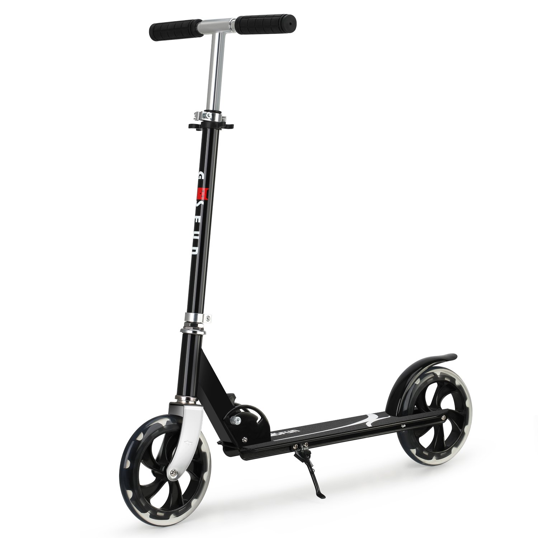 GOSFUN Patinete Plegable de 2 Ruedas Scooter Patinete Altura Ajustable Adecuado para Niños más de 5 años y Adultos, Negro