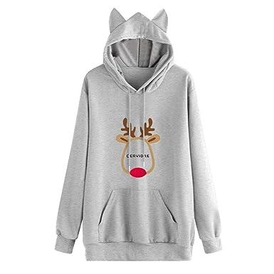 ❤ Sudadera para Mujer Navidad Estampada, Mujeres Navidad Ciervo Carta Estampado de Orejas Sudadera de Manga Larga Sudadera con Capucha Tops Absolute: ...