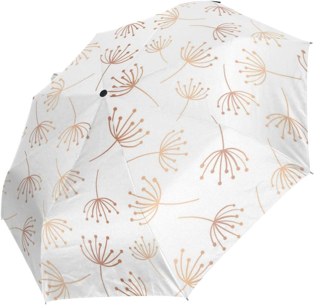 Rose Gold Cute Dandelion fashion print cute Windproof automatic tri-fold umbrella sun UV protection Sun umbrella
