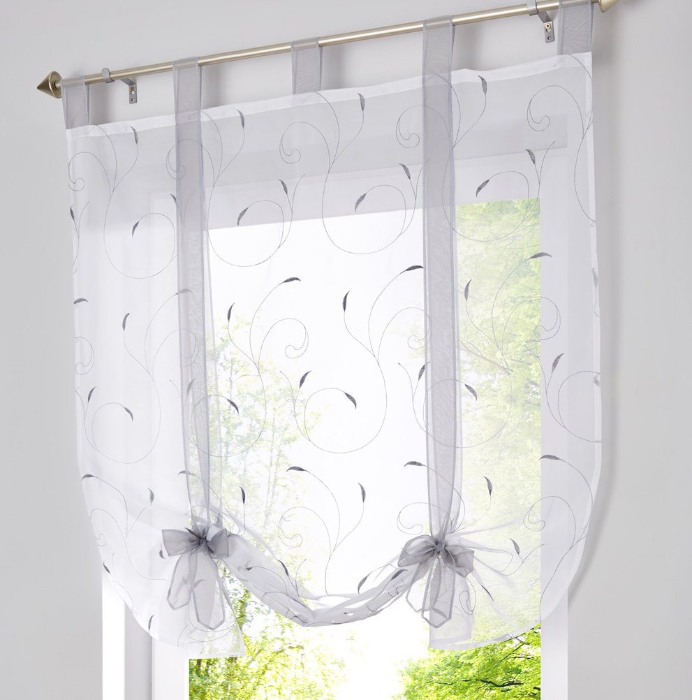 LivebyCare 1pcs Floral Embroidered Tie-Up Roman Shades Tap Top Sheer Balcony Window Balloon Curtain Voile Drape Bowknot Drapery Valance Panels for Dinning Room Decor Decorative