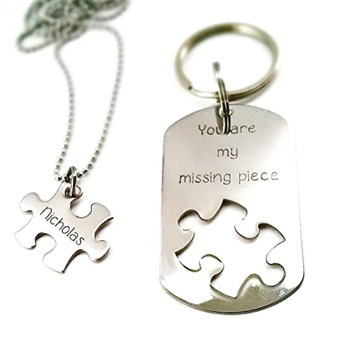 6a51a0f1a6 Image Unavailable. Image not available for. Color: Missing piece -  Personalized Necklace and Keychain Set - Puzzle ...