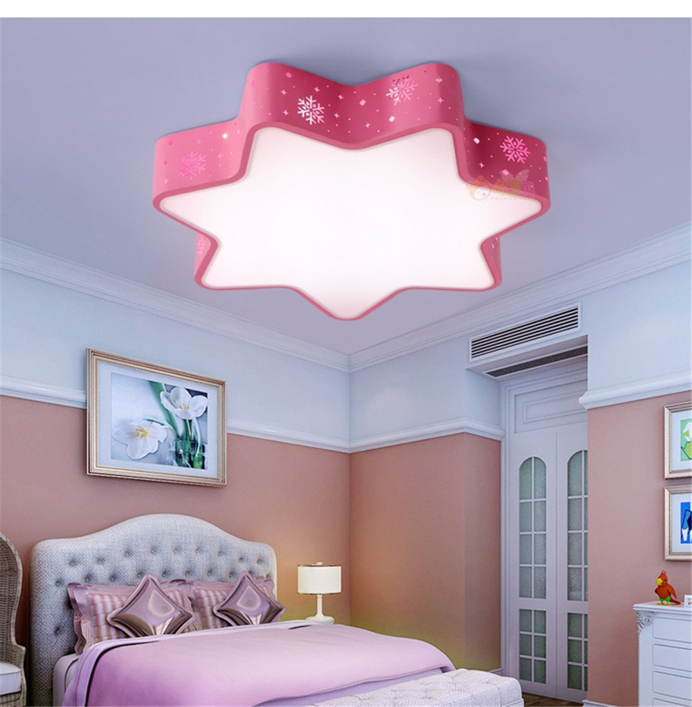 Leihongthebox Ceiling Lights lamp Children's Room stars ceiling LED children Ceiling lamp for boys and girls to room light dimmer snowflake tri-color for Study Room, Bedroom, Living Room,480mm by Leihongthebox (Image #1)