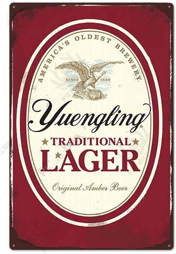 Beer TIN Sign Yuengling Traditional Lager - Metal Plaque, Retro Decor for Bar, Cafe, Pub, Size Tin Sign Man Cave Game Room Light Beer Tin Sign 12