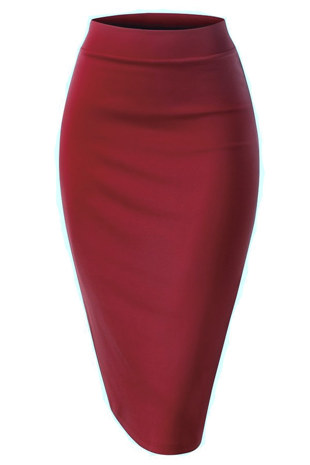 Women Elastic Waist Band Stretchy Fabric Pencil Skirt (Medium, Banded_Burgundy)