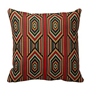 Romantichouse Cotton Linen Square Decorative Square Pillowcase Mexican Red Teal Blue Orange Black