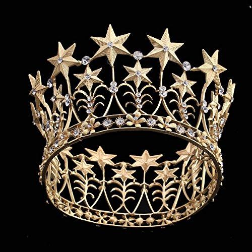 - Zebratown Crystal Crown Gold Star Crown Tiara Wedding Bridal Hair Jewelry Birthday Gifts