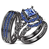 ArtLine Jewels 14K Black Gold Fn Real Blue Sapphire Diamond Trio Set Matching Engagement Ring Wedding